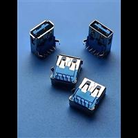 3.0USB母座 垫高6.5 L=16 蓝胶直边/卷边 带弹