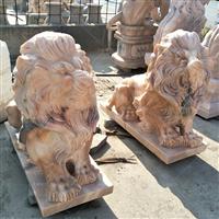 石雕现代欧式石狮子汉白玉石爬狮走狮蹲门口摆件