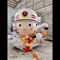 深圳消防宣传主题文化街雕塑卡通消防员形象雕塑