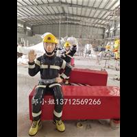 工厂直供消防主题合影拍照模型道具玻璃钢消防员人像雕塑