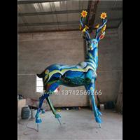 创意树脂彩绘星空回头鹿雕像玻璃钢抽象麋鹿雕塑