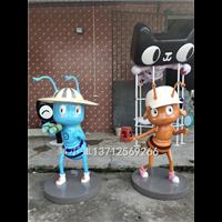 西安商场美陈IP形象玻璃钢蚂蚁卡通雕塑玻纤立体公仔