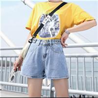 2019韩版高腰短裤学生显瘦卷边老爹短裤