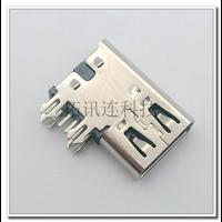 侧插USB 3.1 TYPE-C/F 6P简易充电 侧边鱼叉脚DIP镀镍