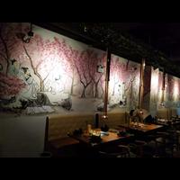 承接襄陽高新區酒店餐廳墻繪彩繪……