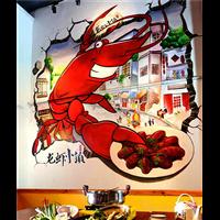北街连锁酒店餐厅墙绘彩绘,已画完