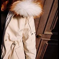 2020年春季反季特卖女款獭兔毛连帽中长款派克服大衣羽绒服