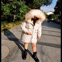 獭兔毛连帽毛领整张獭兔毛内胆派克服大衣可拆洗皮草大衣