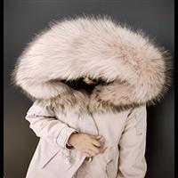 2020年冬季女款派克服羽绒服纯色系獭兔毛定制内胆保暖