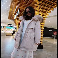 时尚新款专柜獭兔毛毛领耐磨防静电面料派克服批发可售
