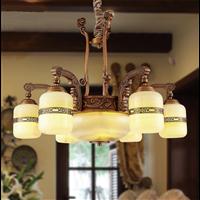 白玉灯具玉石铜灯全铜中式玉石灯天然玉石吊灯