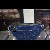 Chanel香奈儿69033菱格纹拼接腰包蓝色