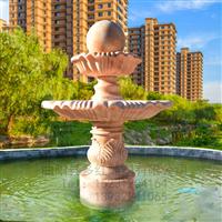 多红雕塑石雕晚霞红欧式喷泉水钵雕塑景观园林广场流水摆件